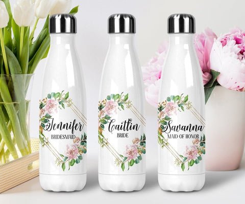 Personalized Bridesmaid Geometric Floral Water Bottle Steel