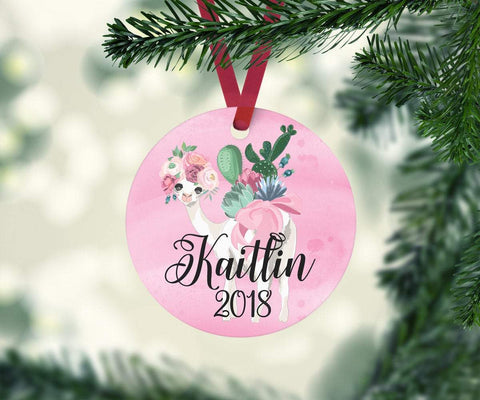 Personalized Llama Christmas Ornament For Baby Girl