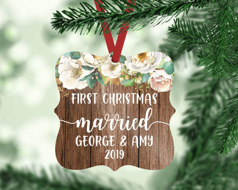 First Christmas Married Personalized Floral Wood Ornament