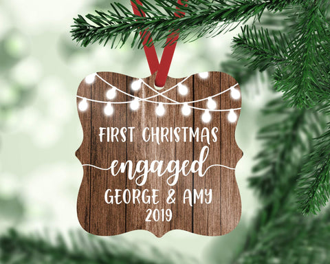 Our First Christmas Engaged Personalized Christmas Ornament Rustic Wedding Gift