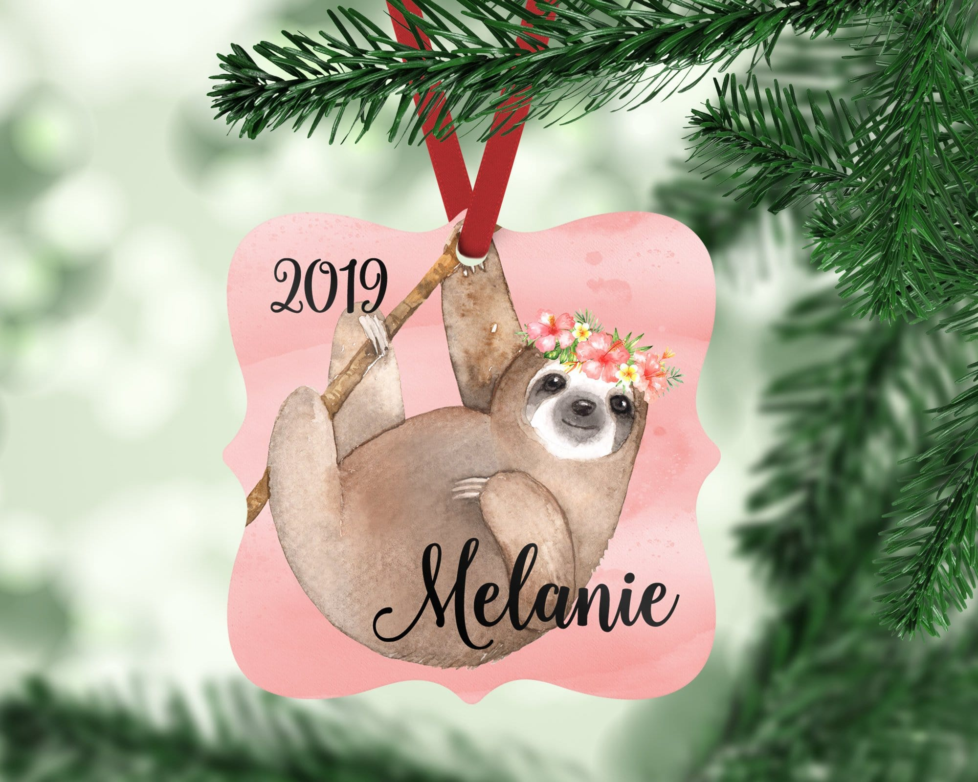 Personalized Sloth Christmas Ornament For Girl