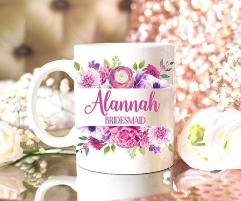Purple Floral Personalized Bridesmaid Mug