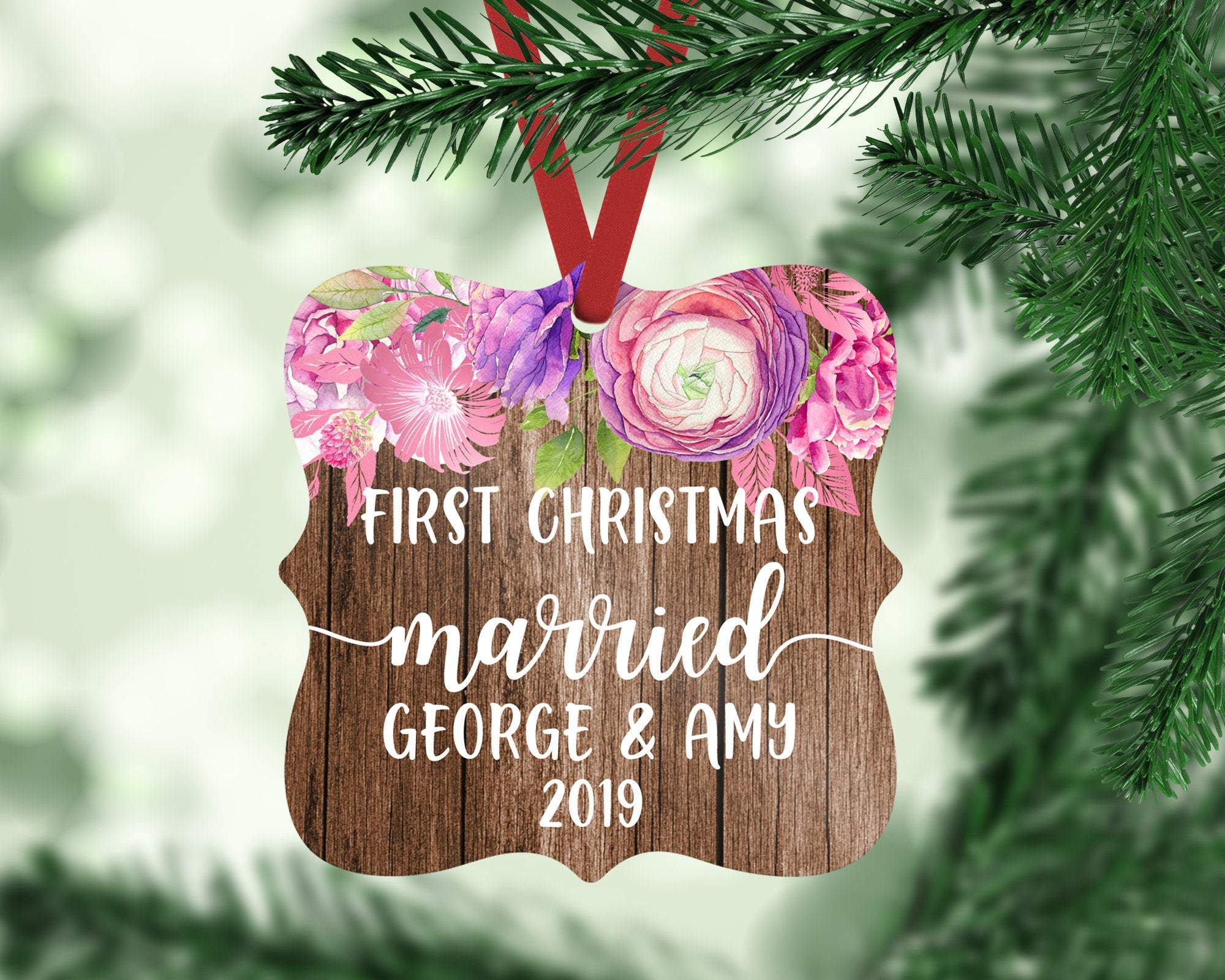 Personalized Rustic Ornament Our First Christmas Married