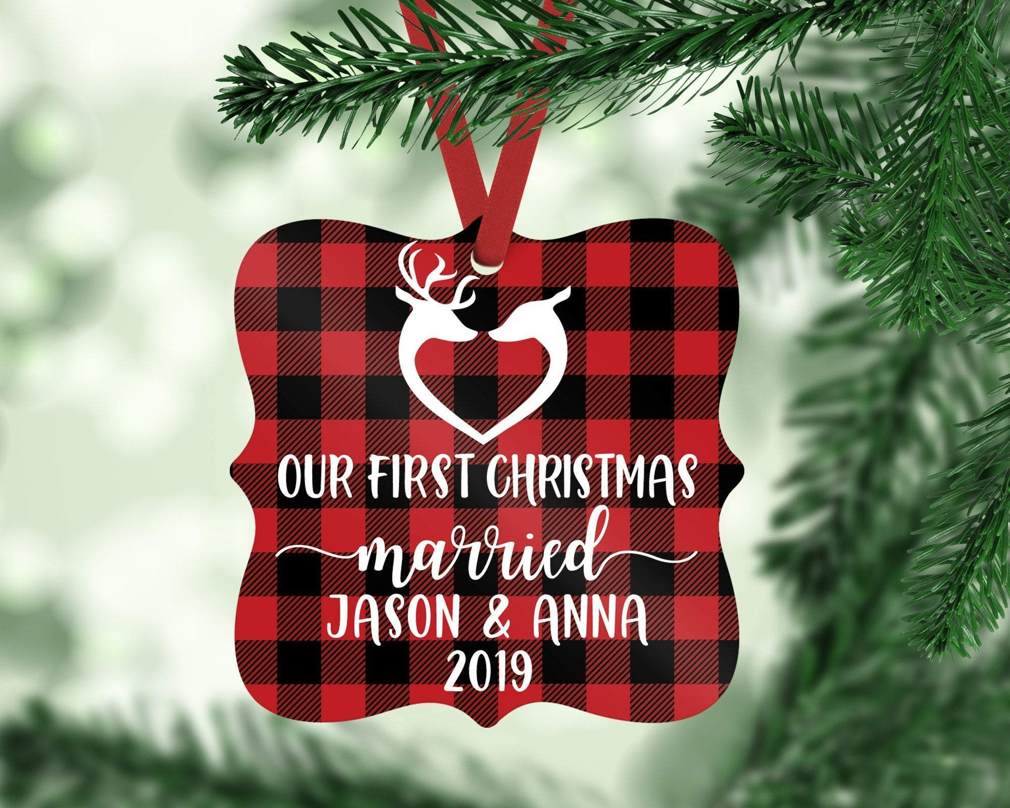 Our First Christmas Married Buffalo Plaid Reindeer Personalized Christmas Ornament
