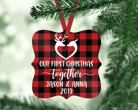 Our First Christmas Together Buffalo Plaid Ornament Gift For Couple