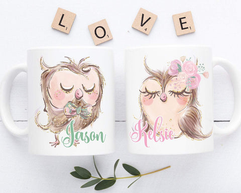 Engagement Gift Set, Owl Mugs Personalized Couple Gift