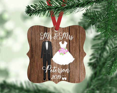 Our First Christmas as Mr & Mrs Ornament Personalized Wedding Gift