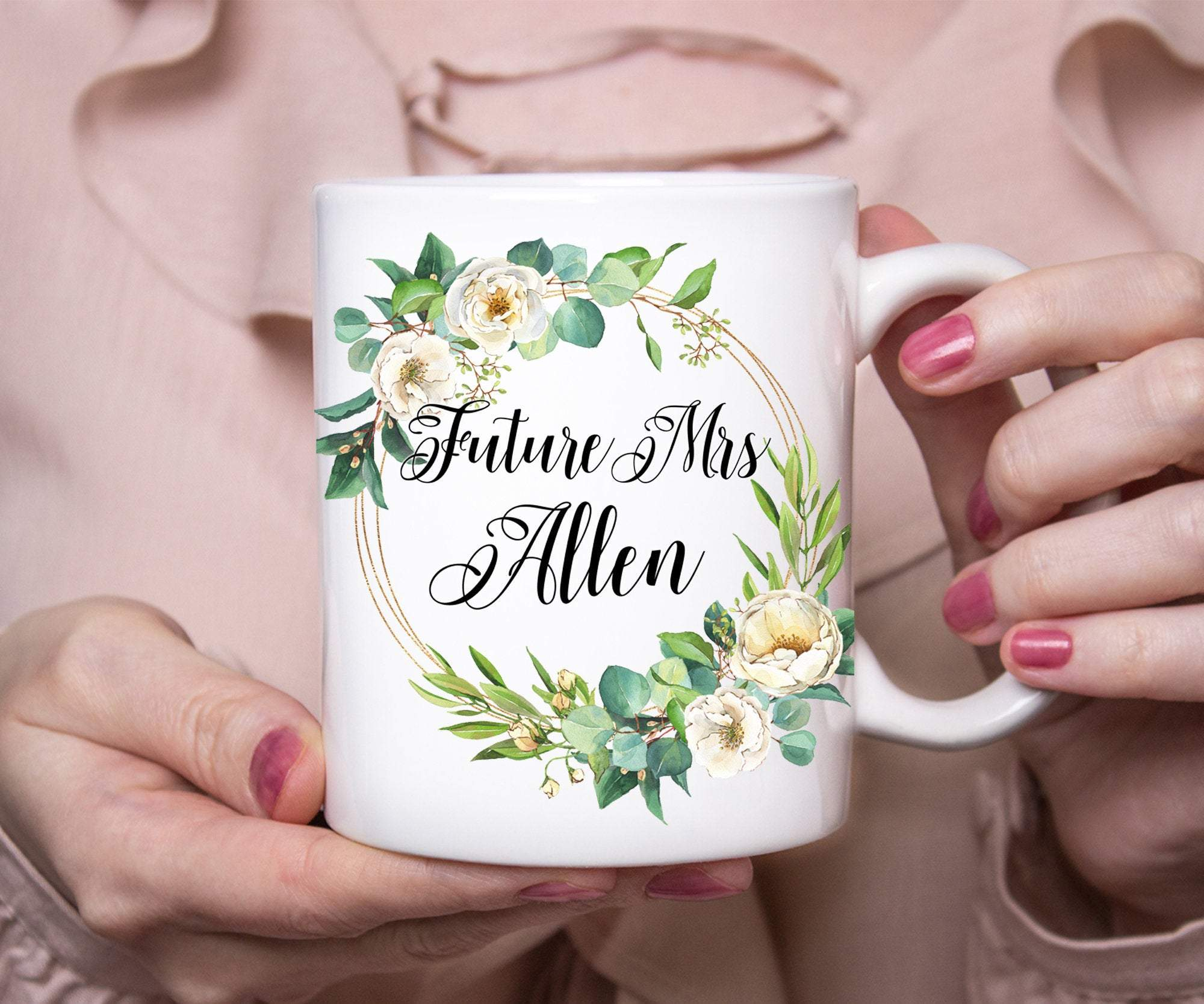 Personalized Future Mrs Floral Mug