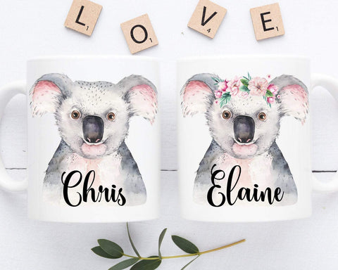 Koala Mugs Personalized Couple Coffee Mug Set