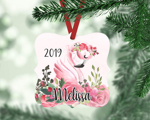 Personalized Flamingo Ornament For Girl
