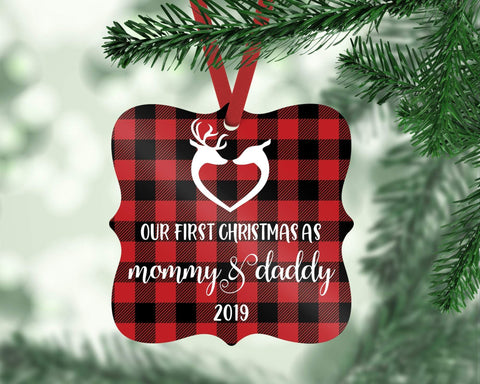 Our First Christmas As Mommy And Daddy Buffalo Plaid Reindeer Personalized Christmas New Parents Ornament