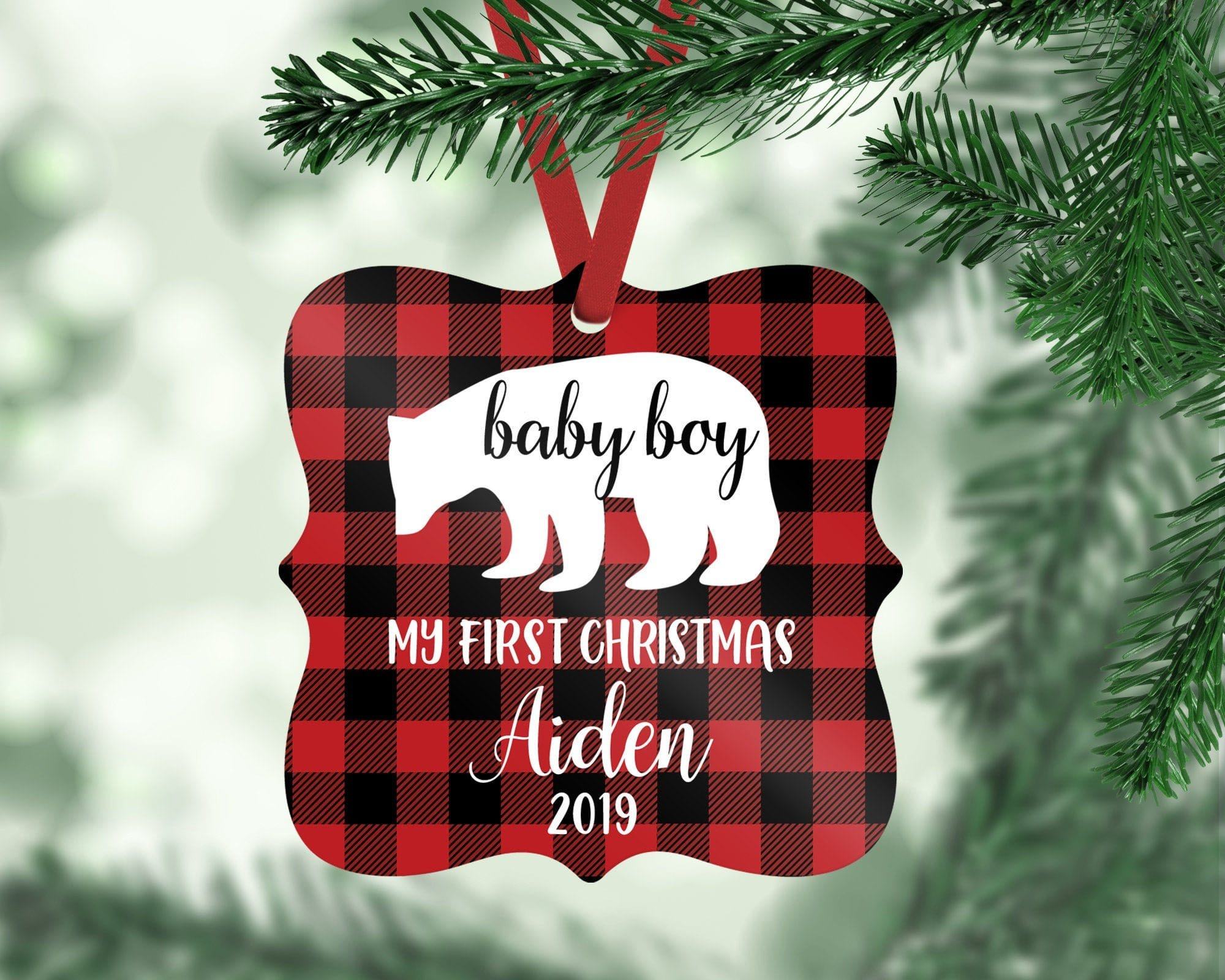 Baby's First Christmas Boy Bear Ornament
