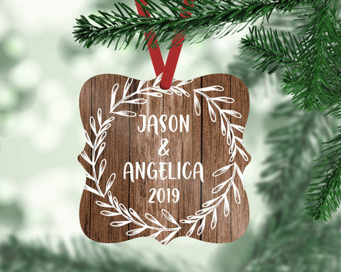 Custom Rustic Christmas Ornament Engagement Wedding Gift For Couple