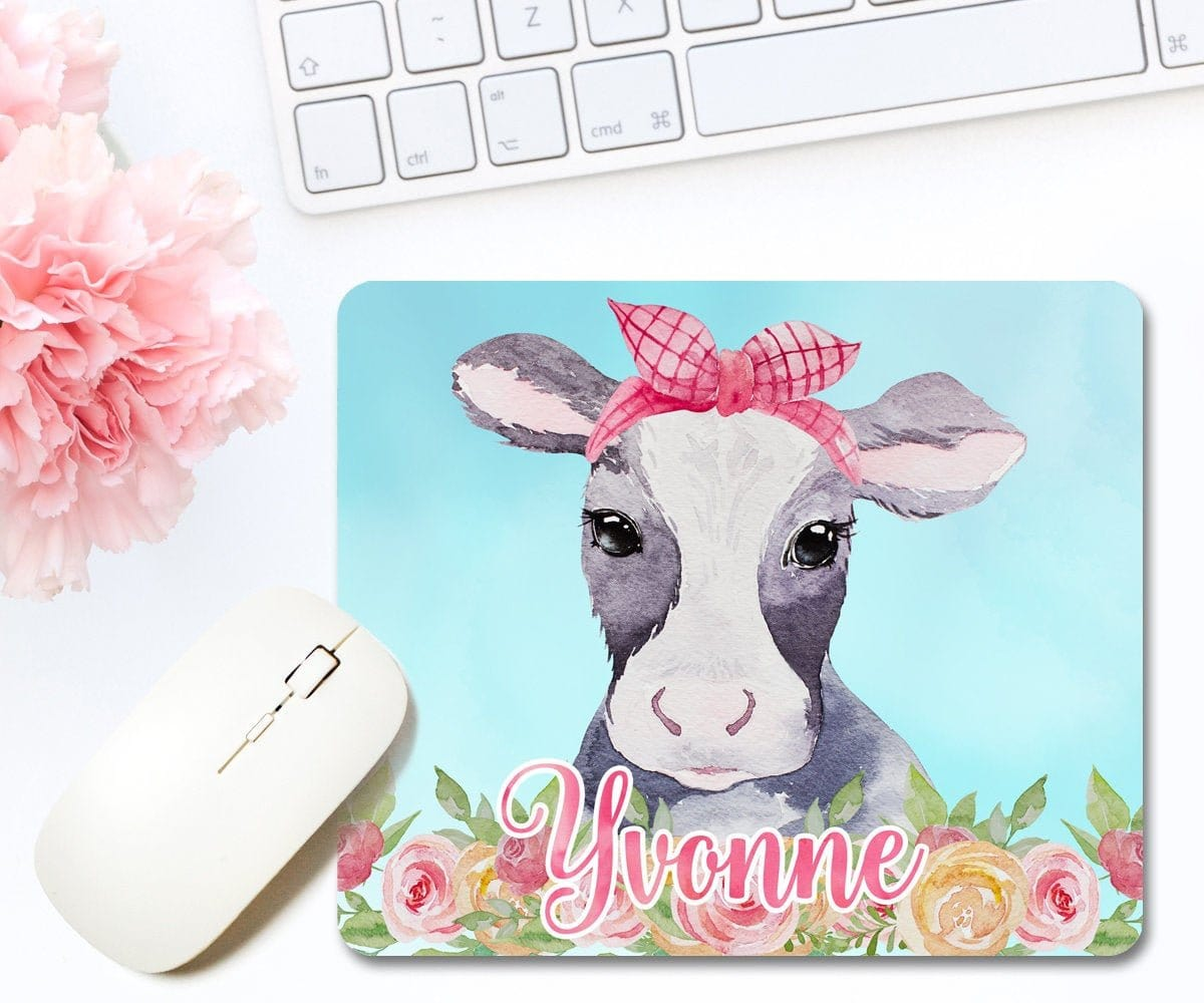Personalized Cow Mouse Pad, Farmhouse Office Décor