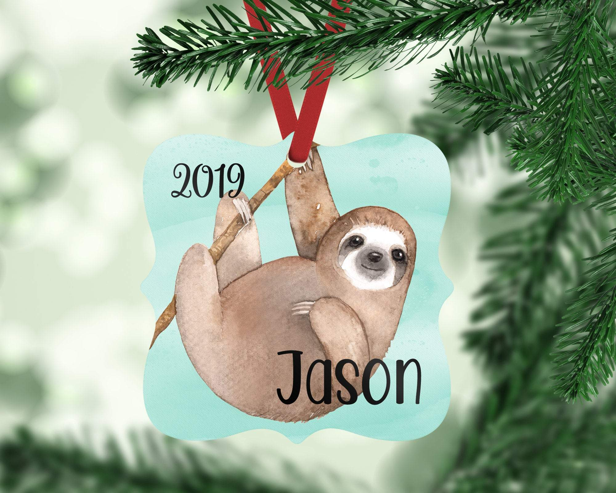 Personalized Sloth Boy Christmas Ornament
