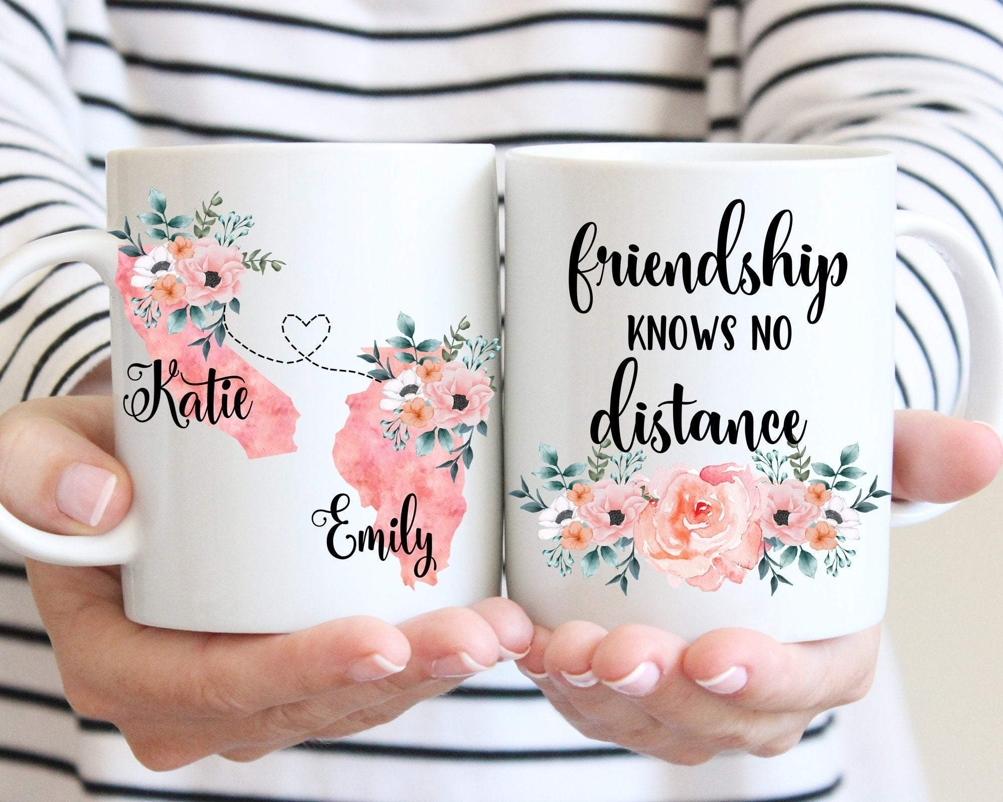 Friendship Knows No Distance State to State Best Friend Mug