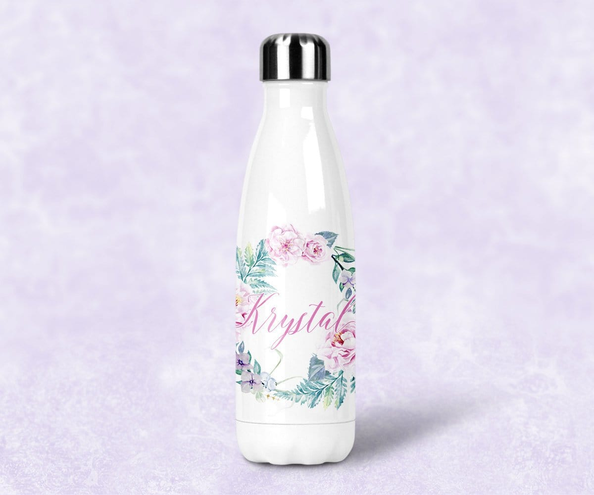 Bridesmaid Gift Roses Custom Water Bottle