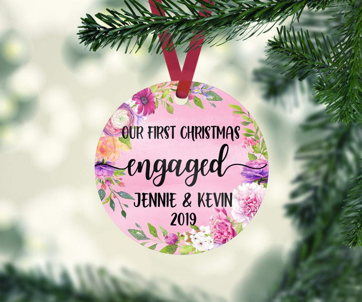 Personalized Engagement Ornament with Names and Date
