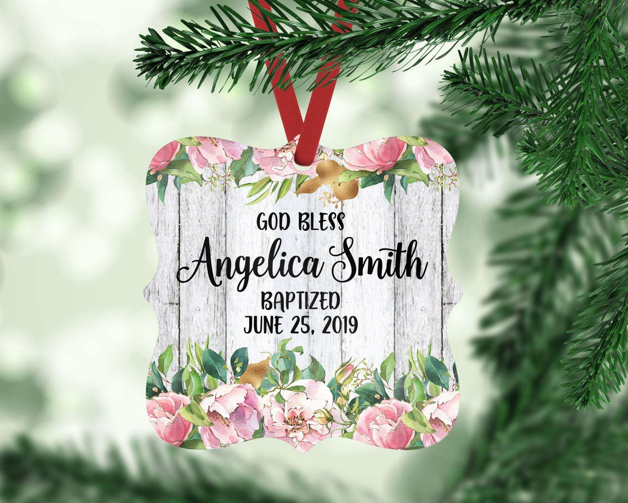 Personalized Baptism Ornament Christening Gift For Girl