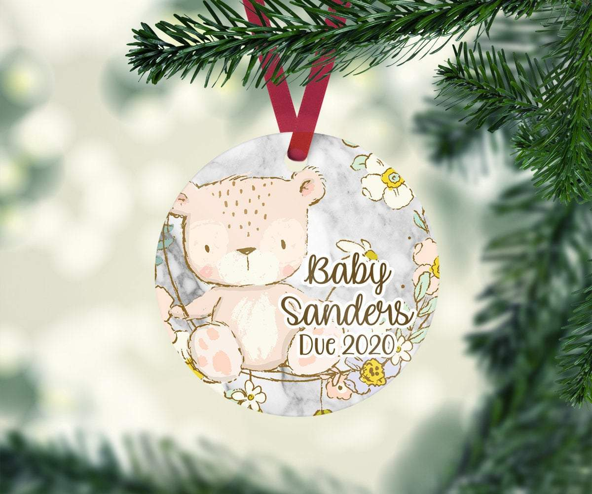 Teddy Bear Baby Announcement Christmas Ornament Personalized