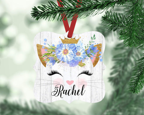 Personalized Cat Christmas Ornament For Girl