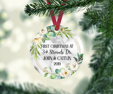Personalized First Christmas At Address New Home Marble Style Geometric Ornament