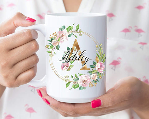 Initial Mug, Personalized Gift For Her, Flower Mug