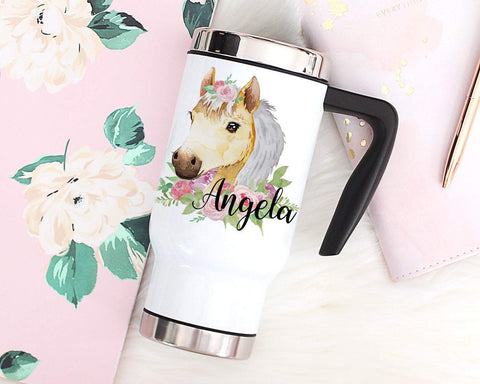 Personalized Horse Travel Mug With Handle