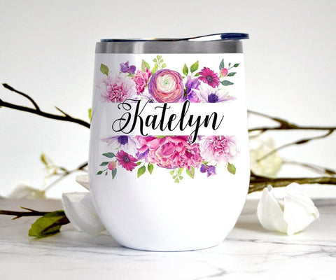 Personalized Flowers Wine Tumbler Bridesmaid Gift Stainless Steel