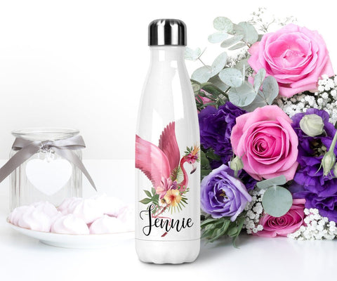 Personalized Flamingo Beach Water Bottle