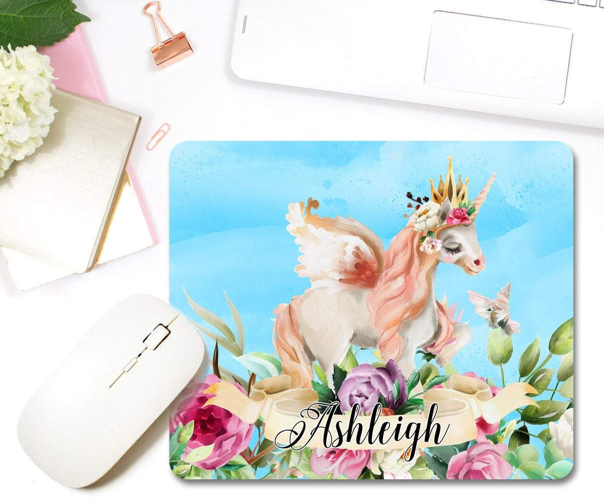 Personalized Unicorn Mouse Pad Girly Home Office Décor