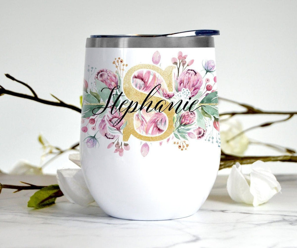 Pink & Gold Floral Wine Tumbler Personalized With Lid Stainless Steel