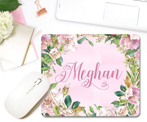 Personalized Flowers Blush & Gold Mouse Pad Home Office Décor