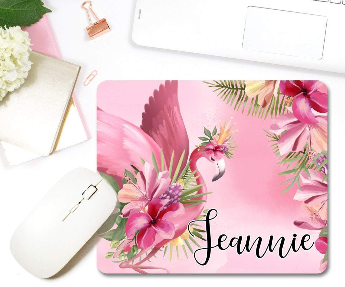 Personalized Flamingo Mouse Pad Girly Home Office Decor