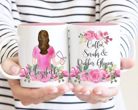 Coffee, Scrubs & Rubber Gloves Personalized Nurse Mug