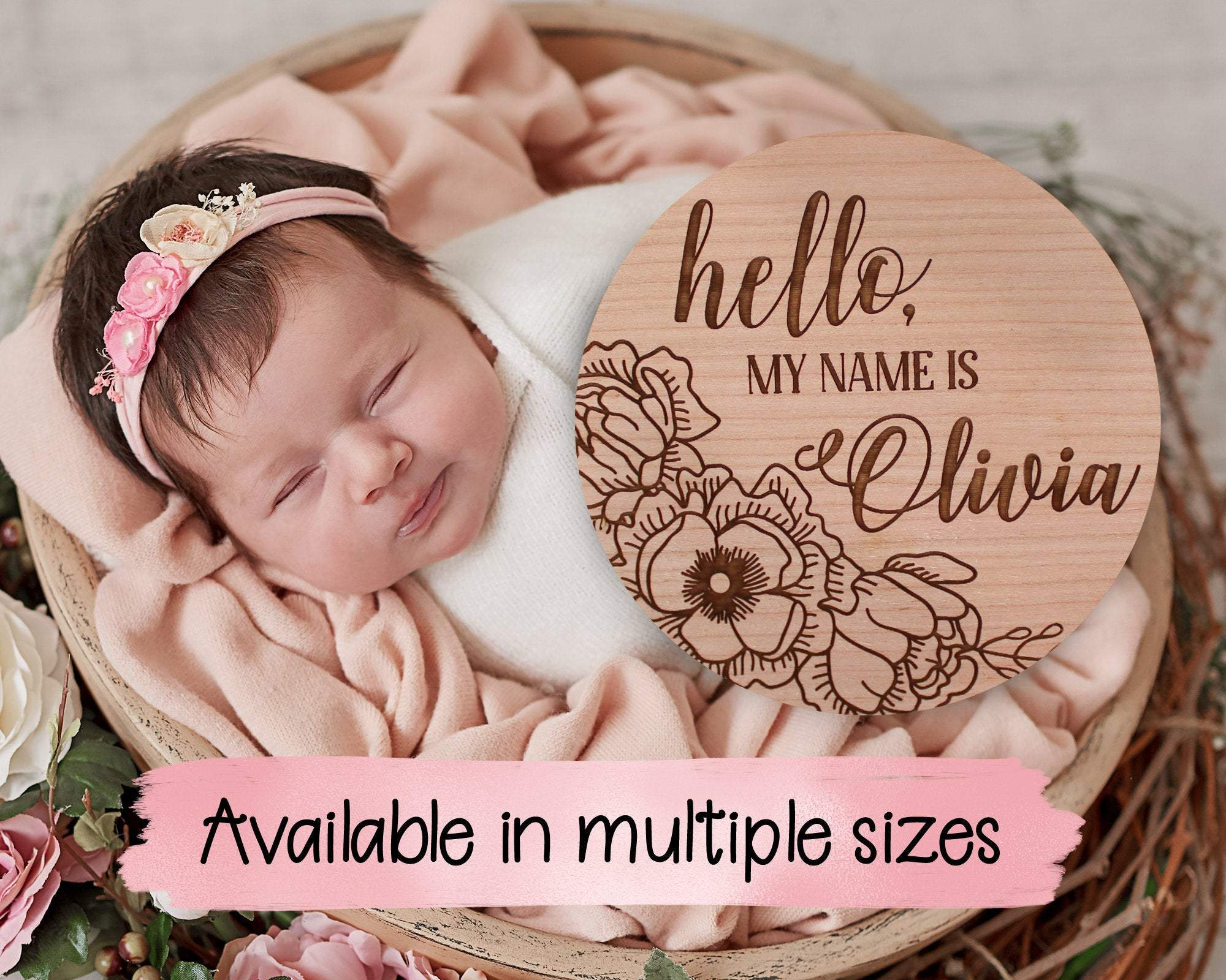 Hello My Name Is Floral Baby Name Birth Announcement Sign