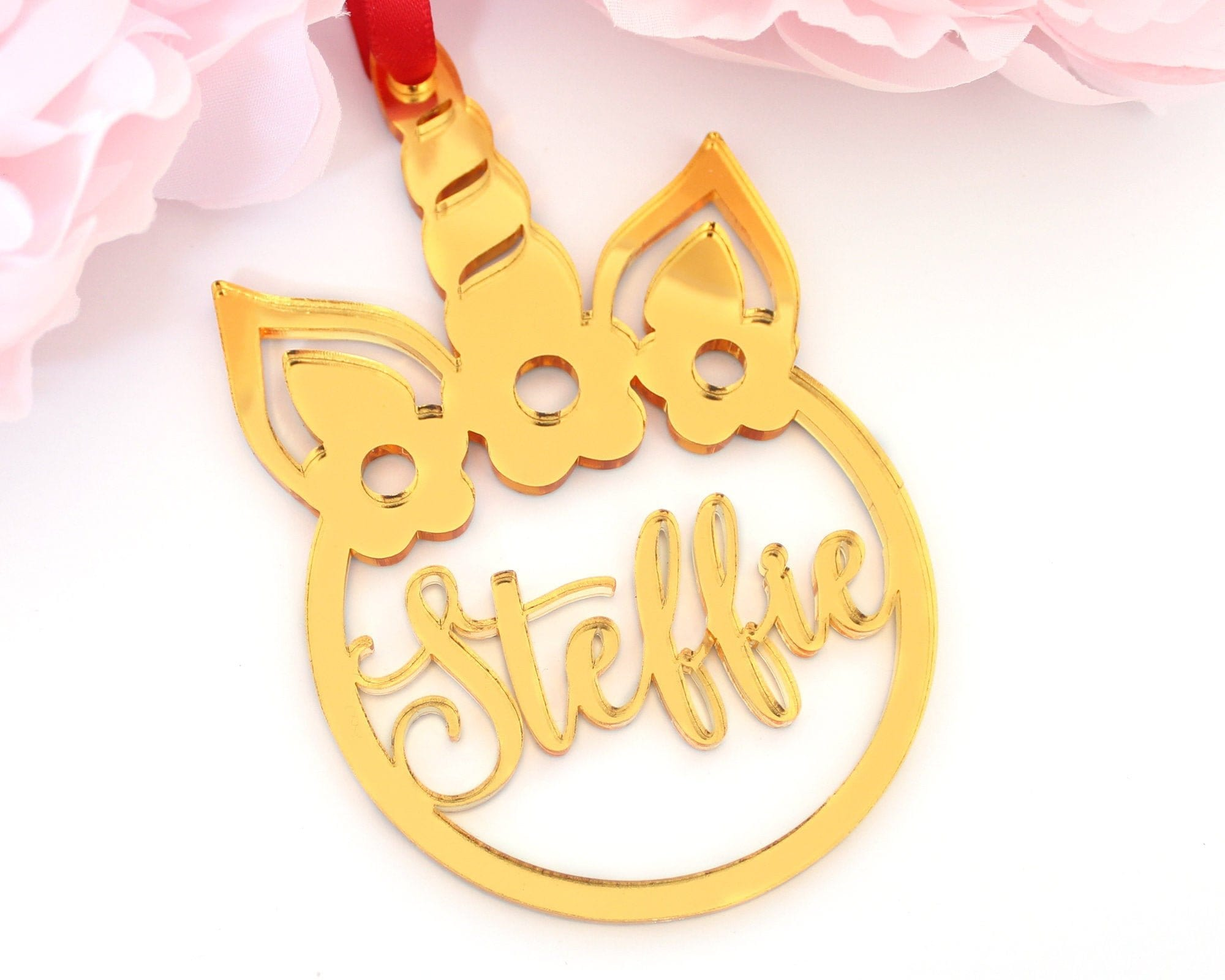 Personalized Unicorn Laser Cut Luxury Christmas Ornament
