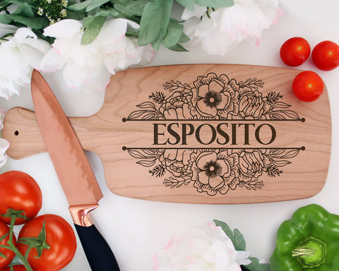 Personalized Engraved Wood Cutting Board With Handle
