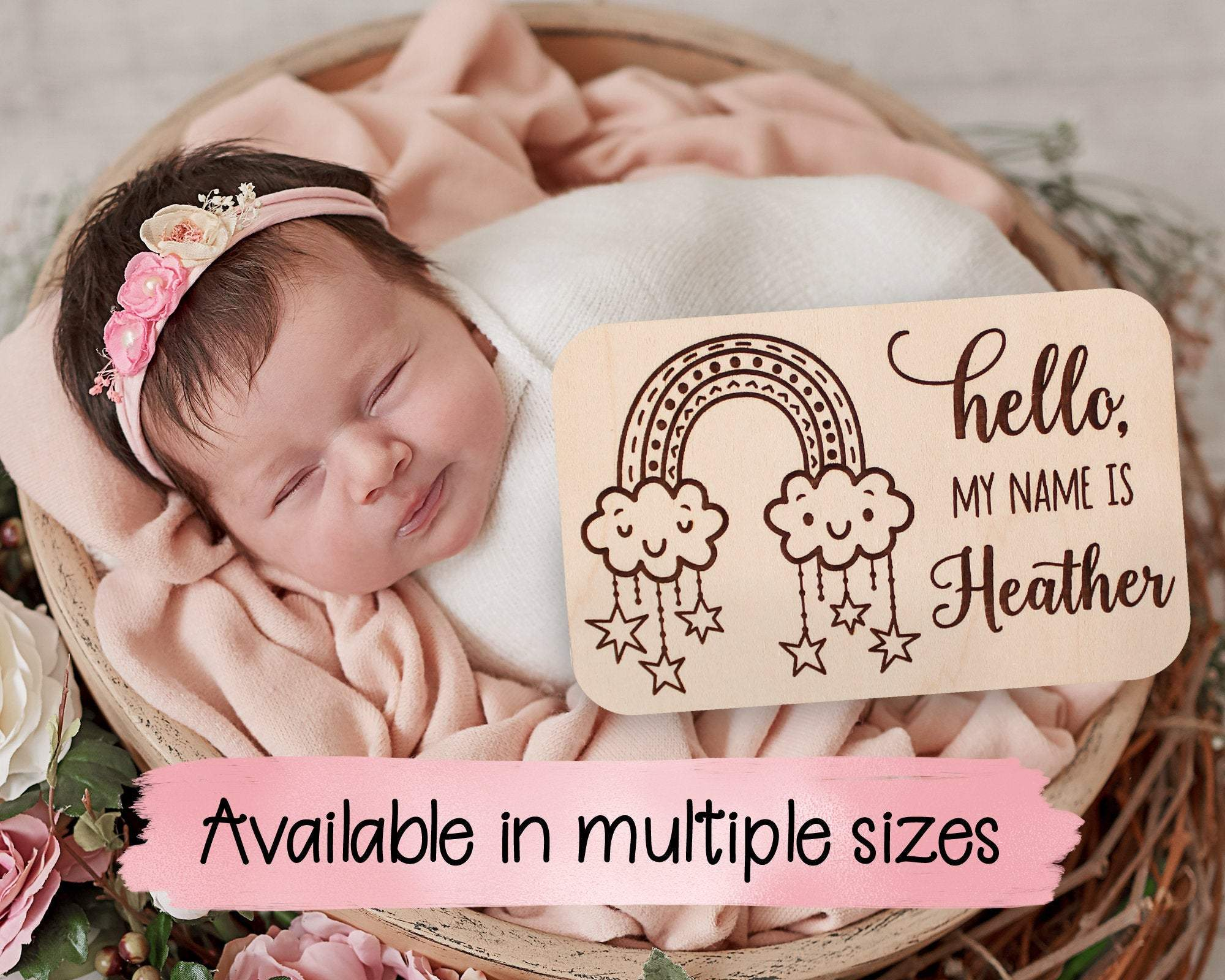 Hello My Name Is Rainbow Birth Announcement Sign Photoshoot Prop