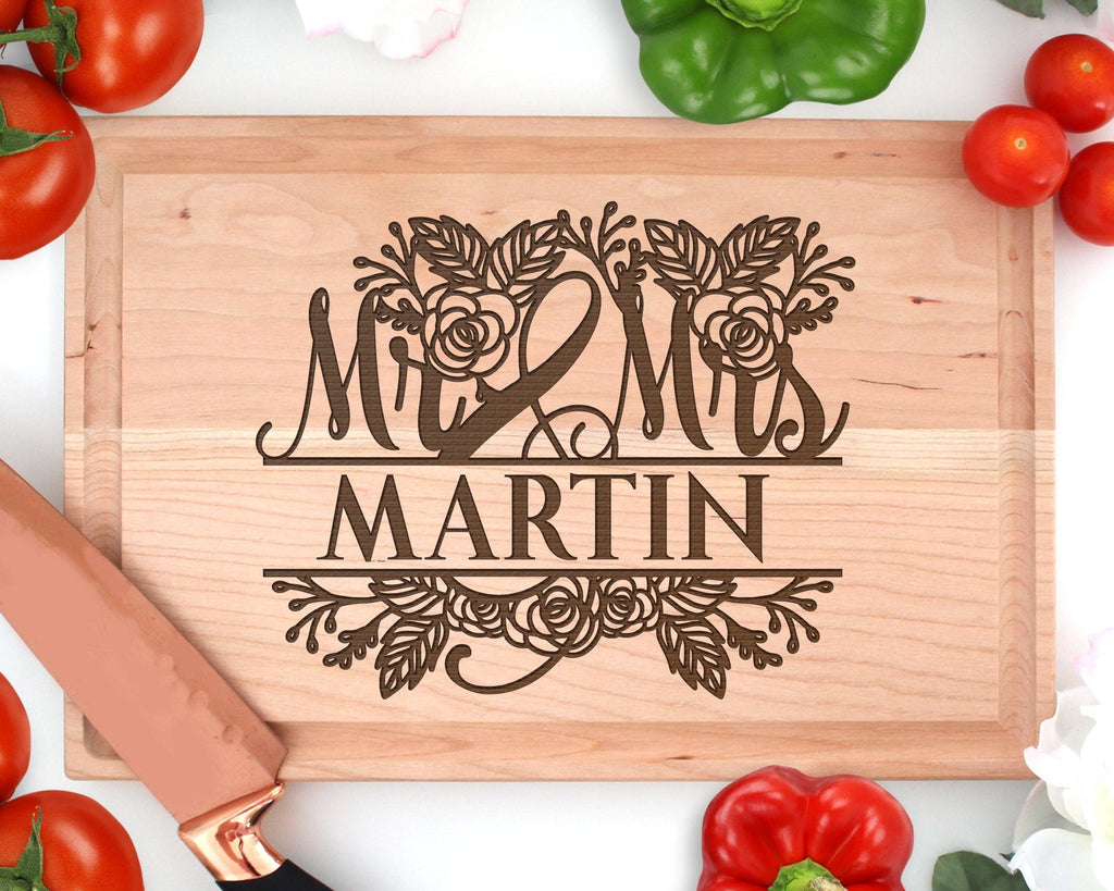 Personalized Mr & Mrs Engraved Cutting Board Rectangle With Juice Groove