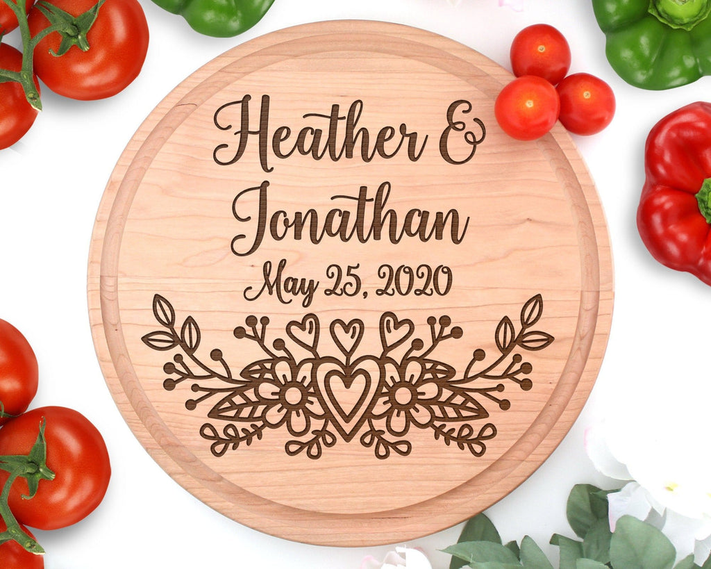 Personalized Names Wedding Floral Circle Engraved Cutting Board