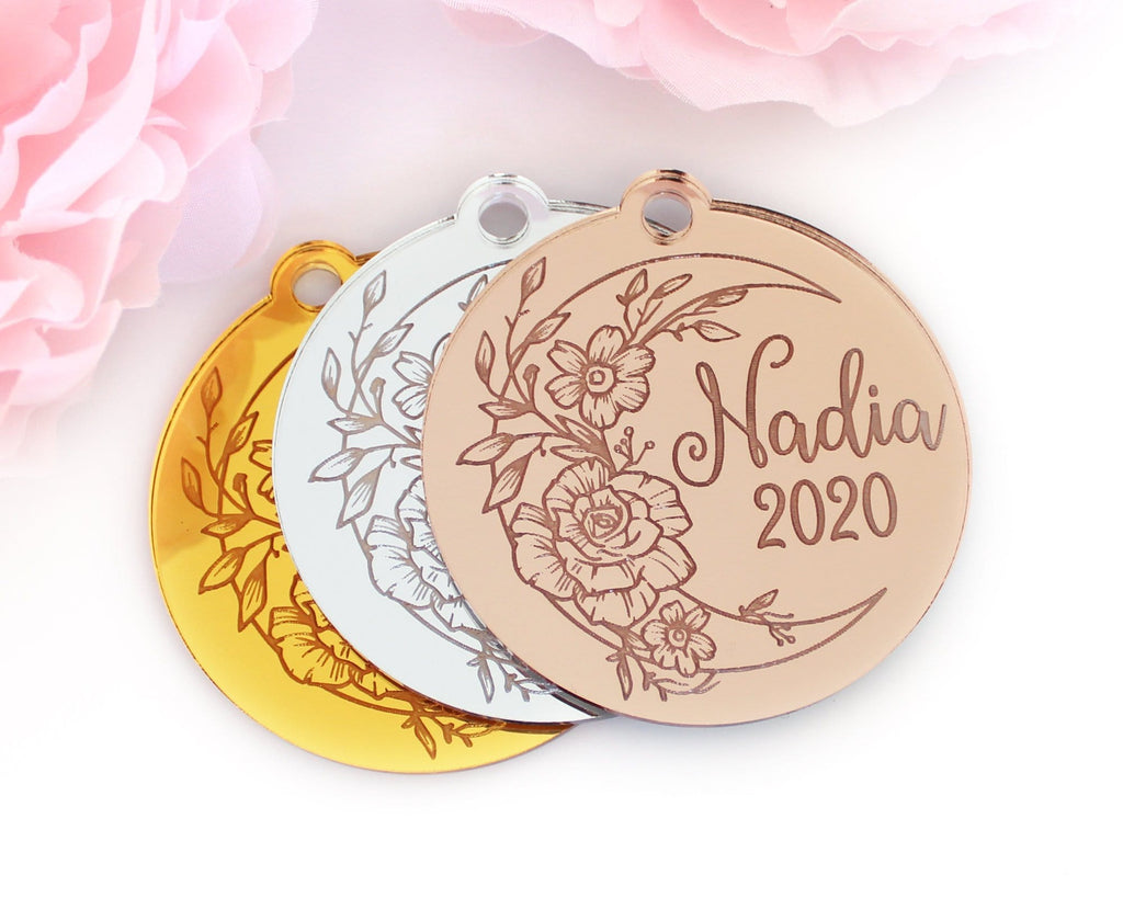 Personalized Moon Rose Gold Baby Laser Engraved Christmas Ornament