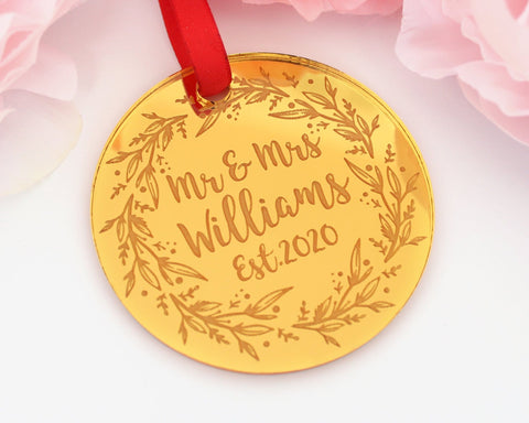 Our First Christmas Married Personalized Gold Engraved Christmas Ornament