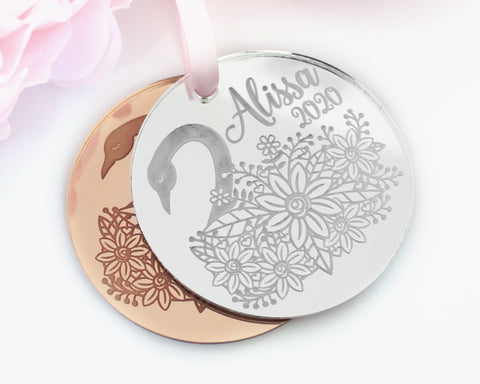 Personalized Swan Ornament Engraved Rose Gold Baby's First Christmas