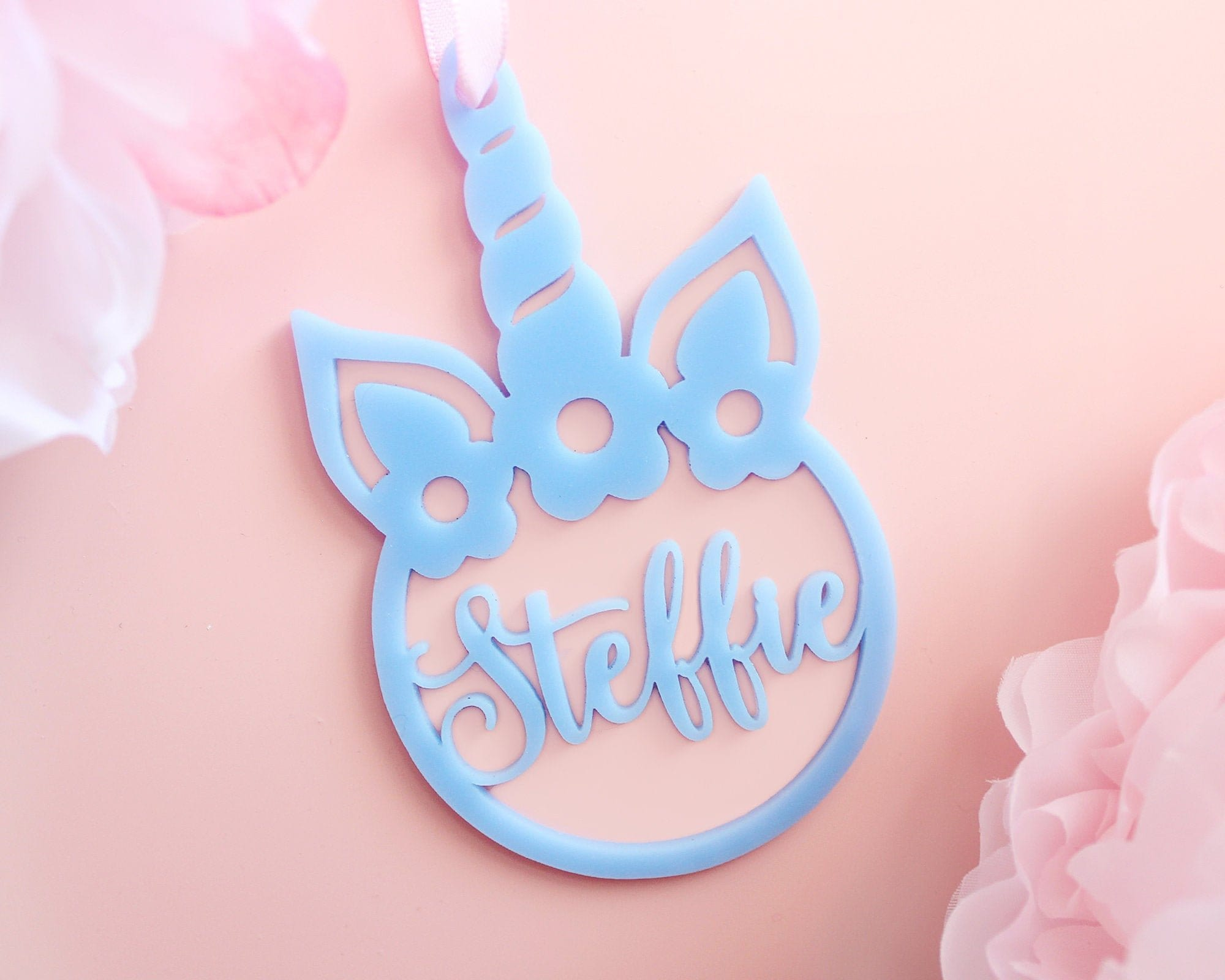 Personalized Unicorn Laser Cut Christmas Ornament Laser Cut Acrylic Bauble