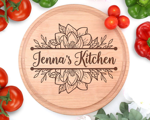 Personalized Engraved Circle Magnolia Cutting Board