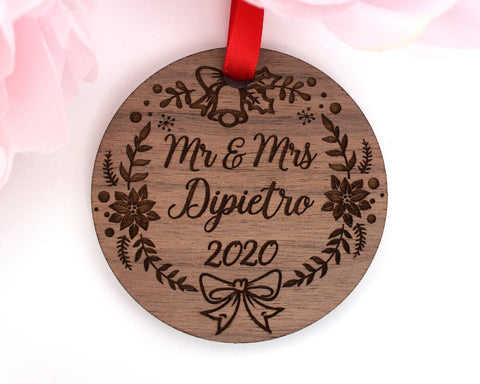 Personalized Mr Mrs Wedding Ornament Wood Engraved Christmas Ornament