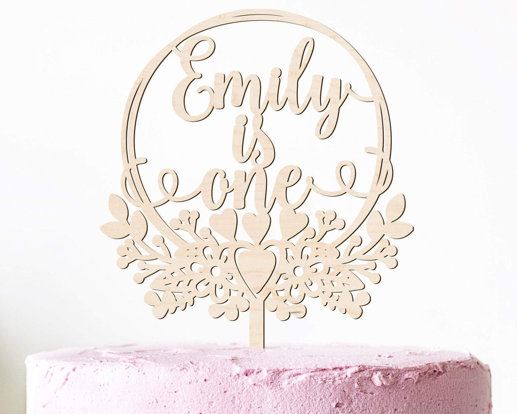 Custom First Birthday Personalized Wood Cake Topper