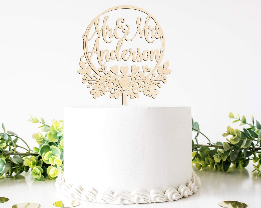 Personalized Mr & Mrs Wedding Cake Topper Wood