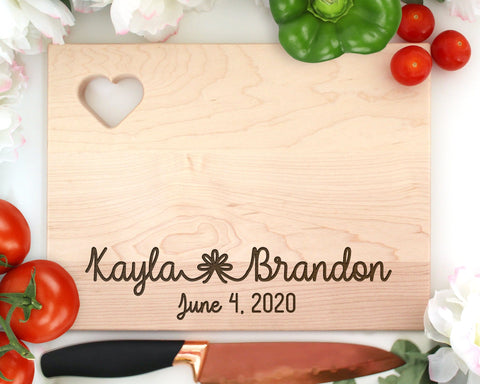 Customized Wedding Names Engraved Wood Cutting Board With Heart